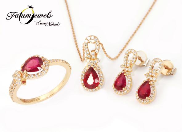 Rozé arany gyémánt rubin szett