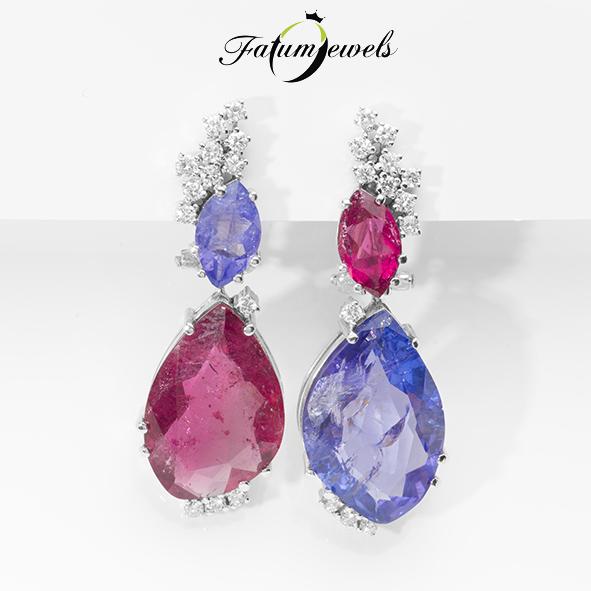 Fantázia gyémánt rubellit tanzanit fülbevaló