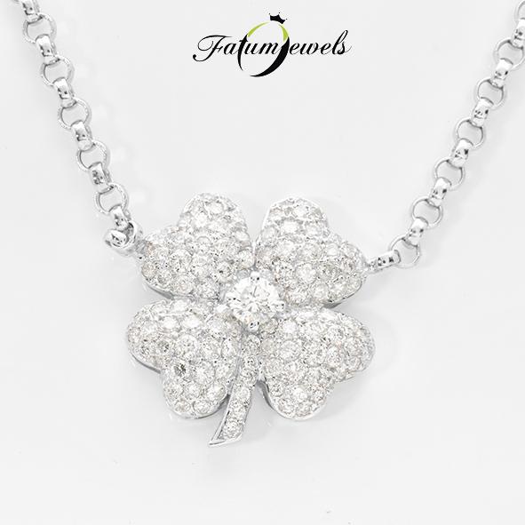 Lóhere fehérarany gyémánt nyaklánc