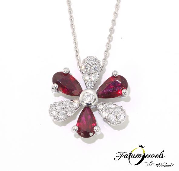 Fehérarany gyémánt rubin medál