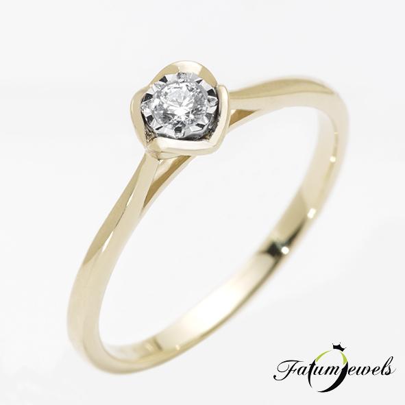 Sárga arany gyémánt eljegyzési gyűrű