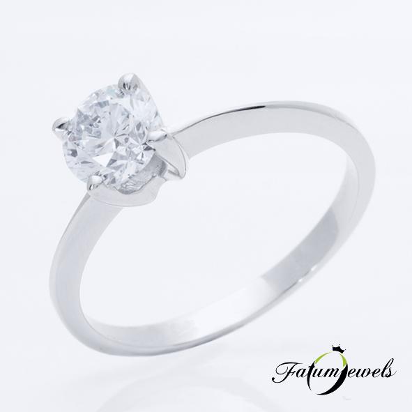 Fehérarany gyémánt szoliter eljegyzési gyűrű