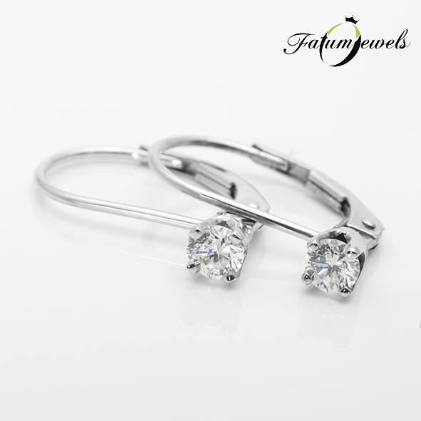 Fehérarany gyémánt szoliter fülbevaló