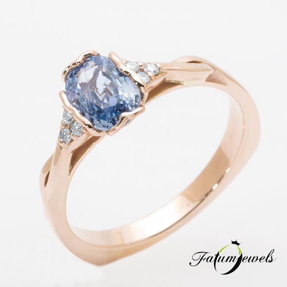 Gyémánt zafír gyűrű