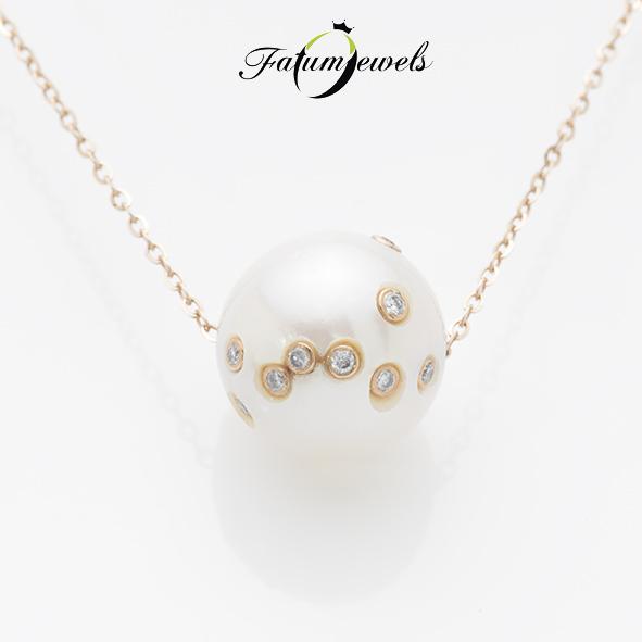 Rozé arany gyémánt gyöngy medál