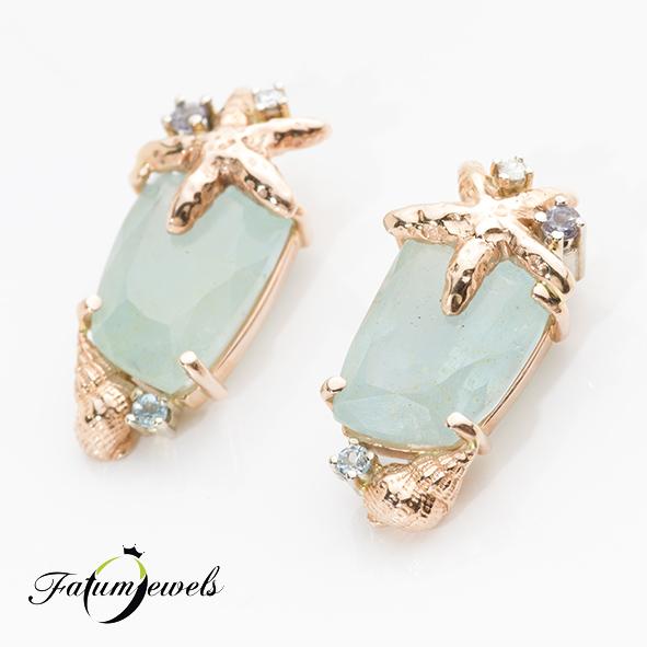 Rozé arany gyémánt iolit topáz fülbevaló