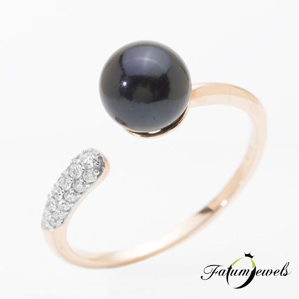 Fatumjewels fekete gyöngy gyűrű