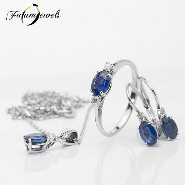 Fehérarany gyémánt zafír ékszer szett