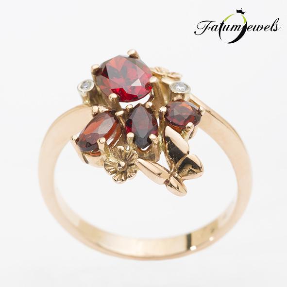 Gyémánt gránát gyűrű