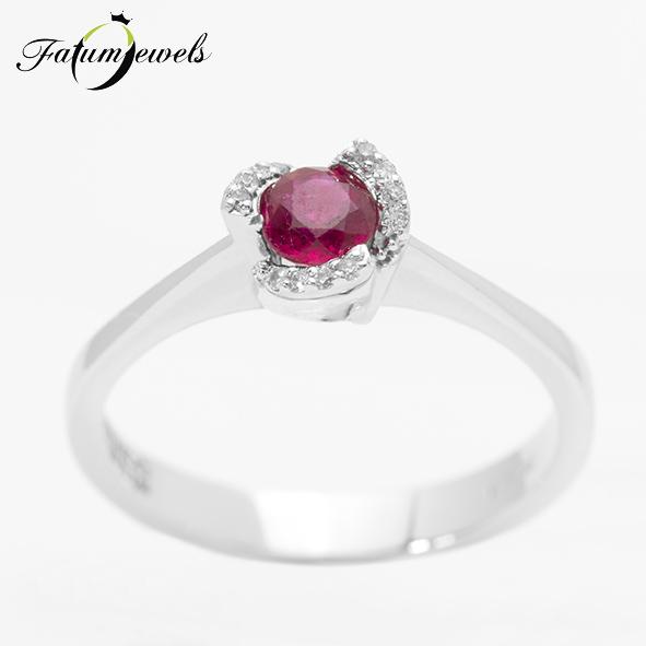Fehérarany rubin gyémánt gyűrű