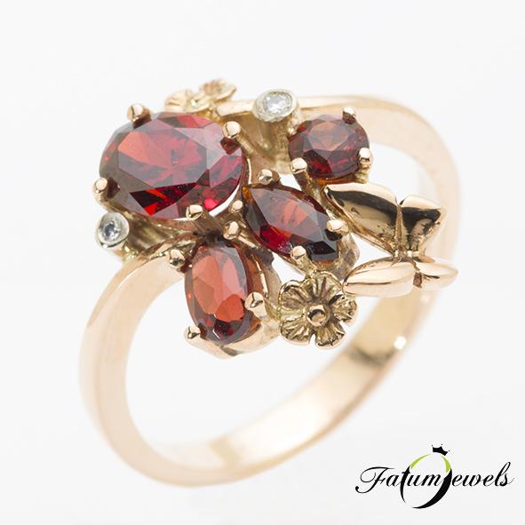 Fatumjewels rozé arany gyémánt gránát gyűrű