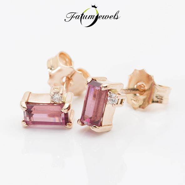 Fatumjewels rozé arany gyémánt gránát fülbevaló
