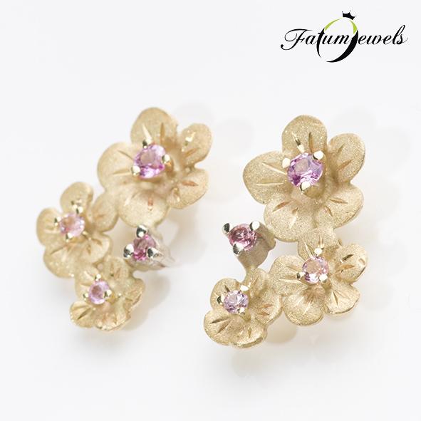 Virág rózsaszín zafír fülbevaló