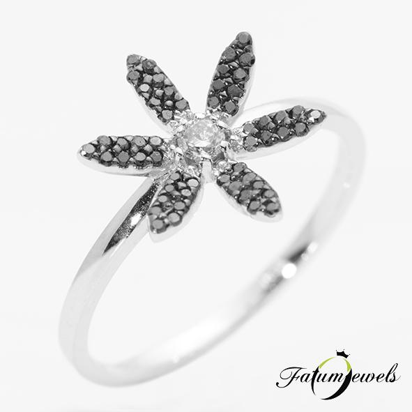 Fehérarany fekete fehér gyémántgyűrű