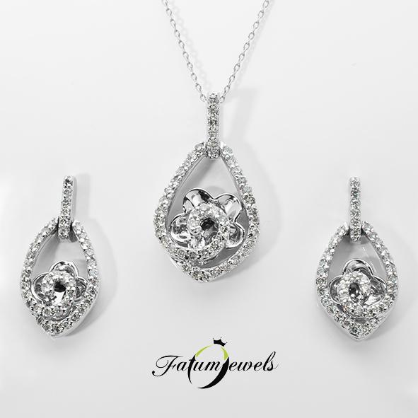 Fehérarany gyémánt ékszer szett