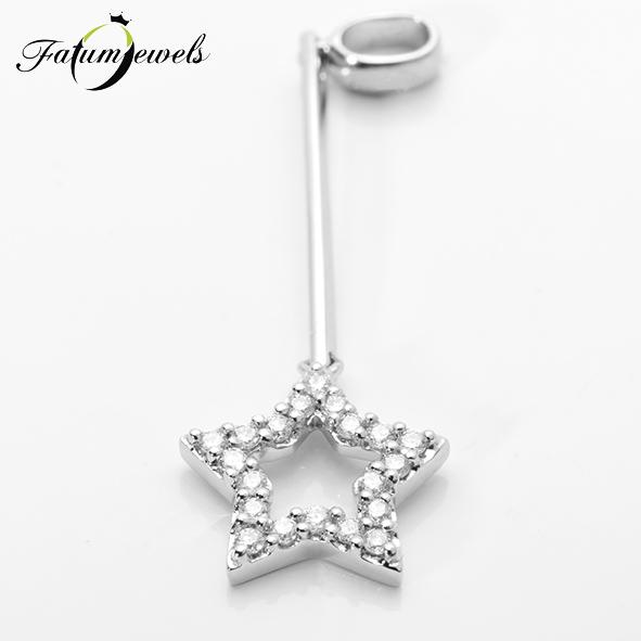 Csillag fehérarany gyémánt medál