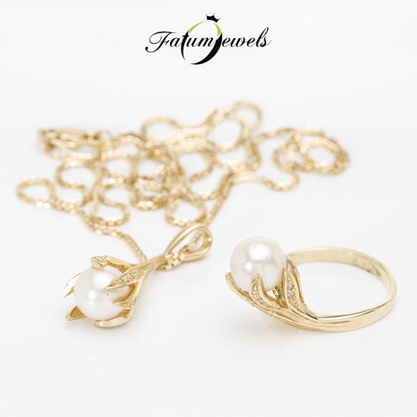 Sárga arany gyémánt gyöngy ékszer szett