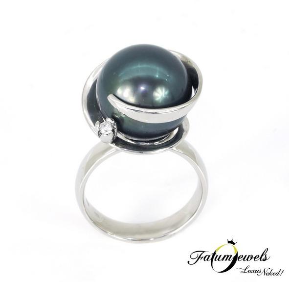 Egyedi gyémánt tahiti gyöngy gyűrű