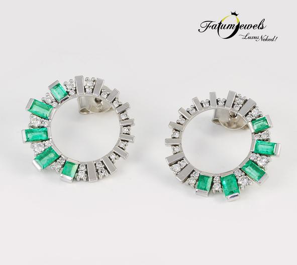 Fehérarany gyémánt smaragd fülbevaló