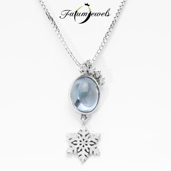 Fehérarany gyémánt topáz medál nyaklánccal