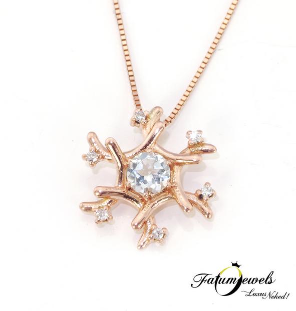 Rozé arany hópihe gyémánt topáz medál