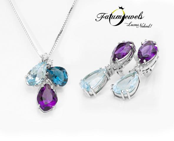 Gyémánt ametiszt topáz ékszer szett