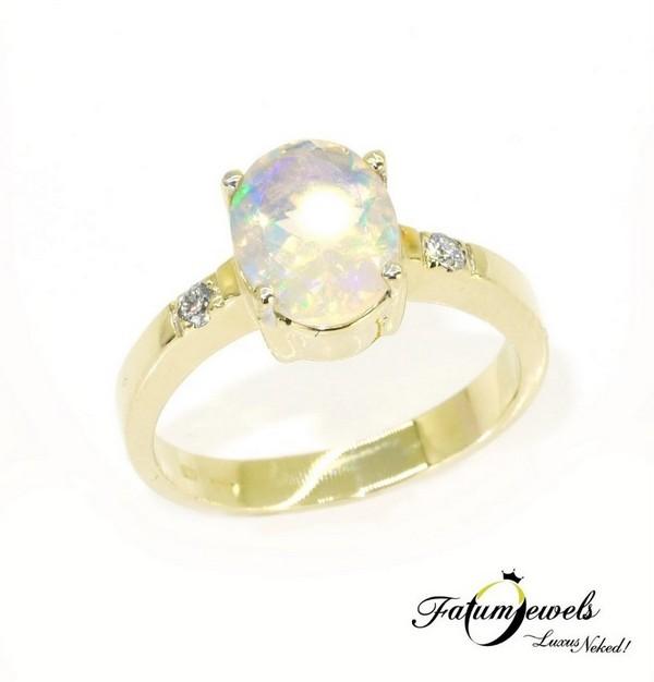Fazettált gyémánt opál gyűrű