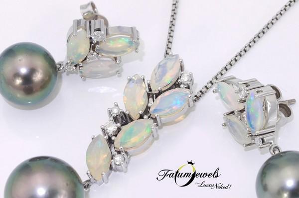Fehérarany opál gyémánt tahiti gyöngy ékszer szett