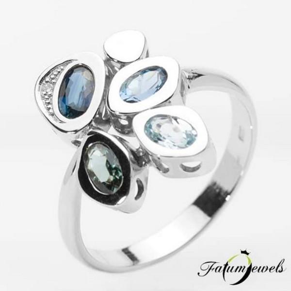 Fatumjewels akvamarin topáz zafír gyűrű