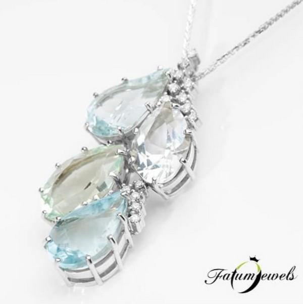Fatumjewels akvamarin berill gyémánt nyakék