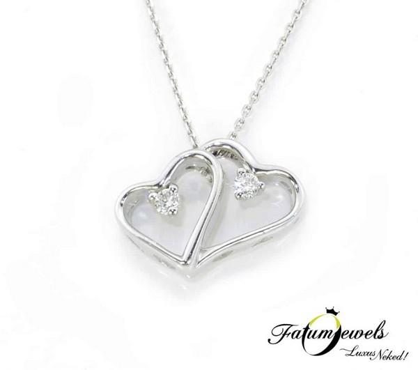 Fatumjewels Dupla Szív gyémánt medál