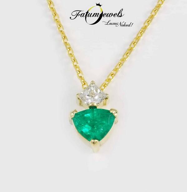 Gyémánt smaragd medál a Fatumjewelstől