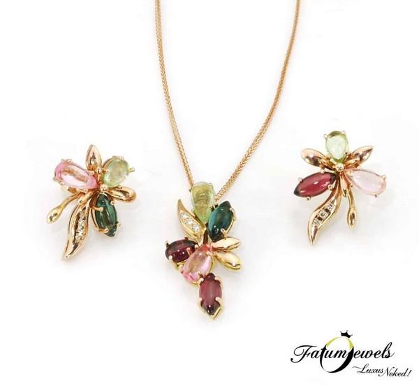 Fatumjewels színes turmalin gyémánt ékszer szett