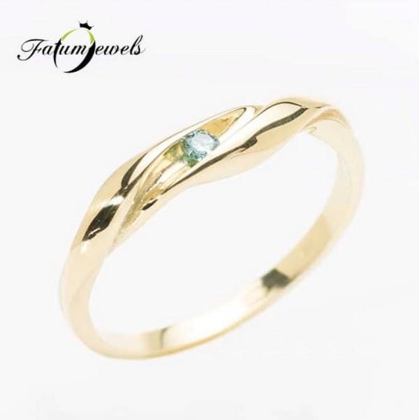 Fatumjewels kék gyémánt eljegyzési gyűrű