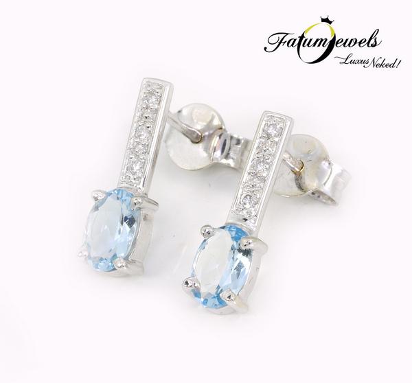 Gyémánt akvamarin fülbevaló