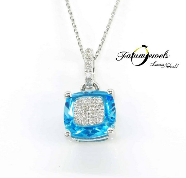 Cushion gyémánt topáz medál