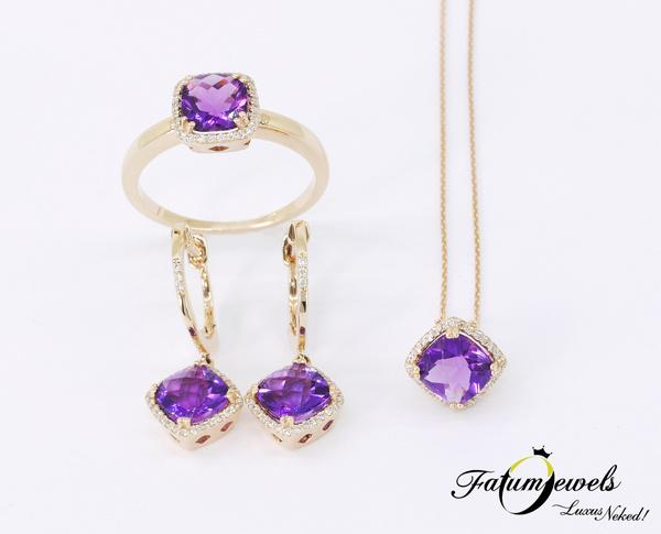 Fatumjewels gyémánt ametiszt ékszer szett