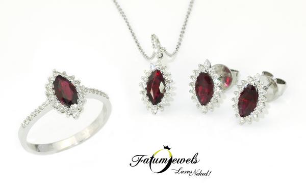 Fatumjewels gyémánt rubin ékszer szett