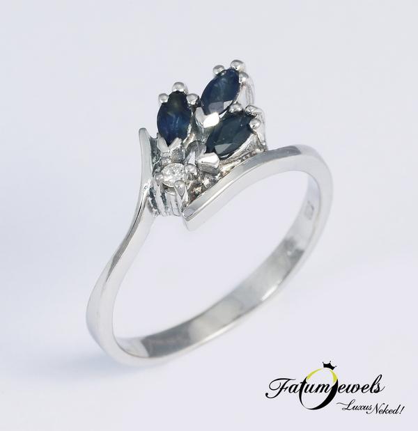 Fatumjewels gyémánt zafír eljegyzési gyűrű