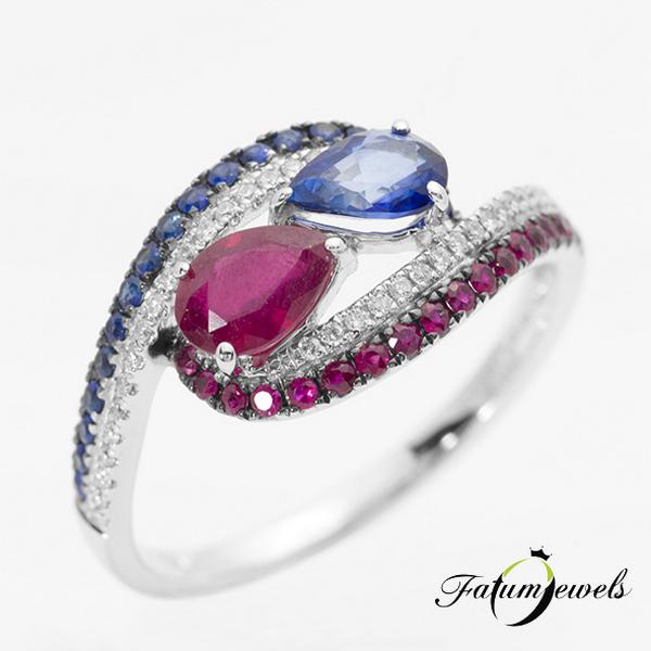 Fatumjewels gyémánt zafír rubin gyűrű