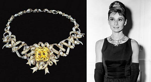 Audrey Hepburn a Tiffany Sárga Gyémánttal
