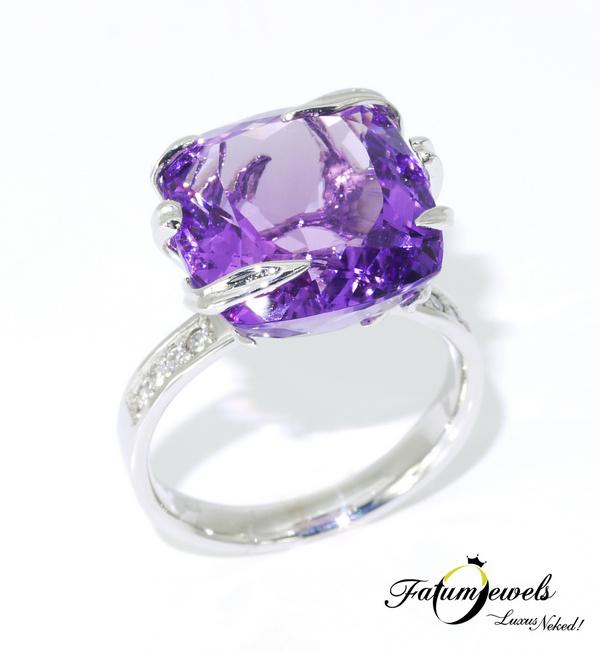 Fatumjewels gyémánt ametiszt gyűrű