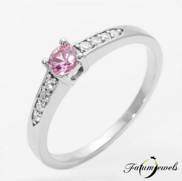 Fatumjewels gyémánt rózsaszín zafír gyűrű