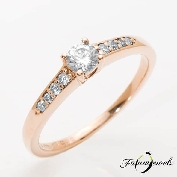 Fatumjewels Jégvarázs rozé arany gyémánt eljegyzési gyűrű