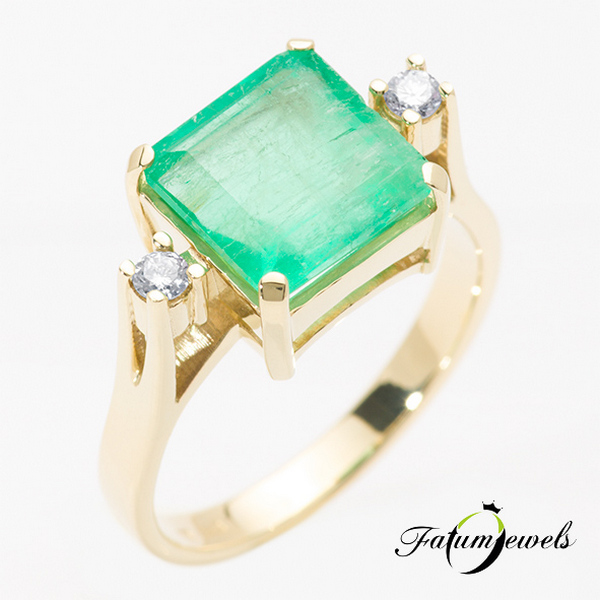 Fatumjewels gyémánt smaragd gyűrű