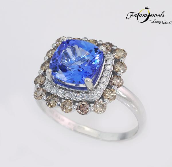 Fatumjewels egyedi konyak gyémánt tanzanit gyűrű