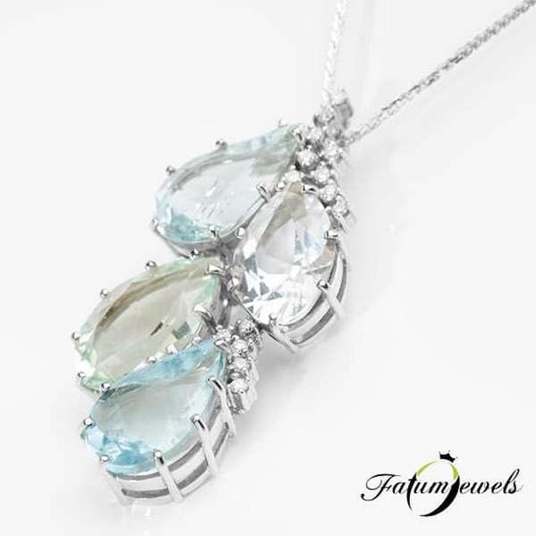 Gyémánt akvamarin berill goshenit nyakék