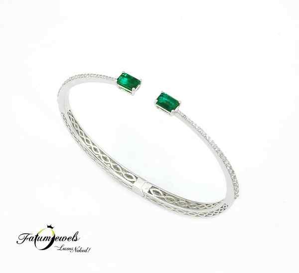 Egyedi gyémánt smaragd karkötő