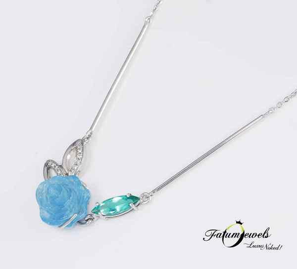 Gyémánt akvamarin paraiba turmalin nyakék