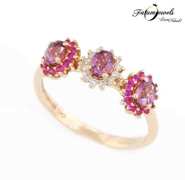 Rozé arany gyémánt ametiszt rubin gyűrű
